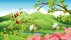 A view of the mountain with flowers and bees Stock Illustration