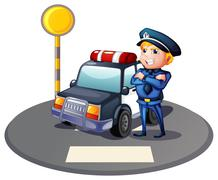 A cop beside a police car with a yellow outpost Stock Illustration