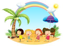 Young women at the beach Stock Illustration