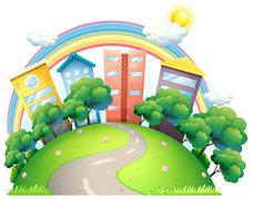 The high buildings and the rainbow Stock Illustration