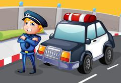 A policeman standing beside his patrol car Stock Illustration