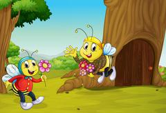 The two bees near a treehouse - stock illustration