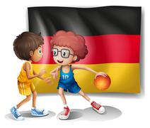 The flag of Germany with the two athletes Stock Illustration