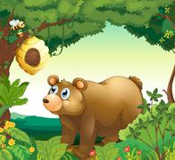 A big brown bear staring at the beehive Stock Illustration