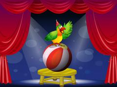 A colorful bird performing at the circus Stock Illustration