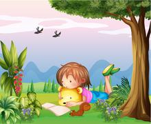 A girl reading at the park Stock Illustration