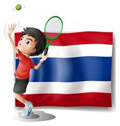 Stock Illustration of An athlete in front of the Thailand flag