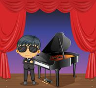 Stock Illustration of A piano with a pianist