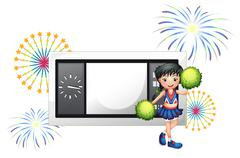 A cheerleader in front of a time board Stock Illustration
