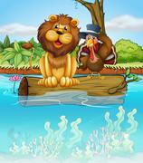A lion and a turkey above a floating trunk - stock illustration