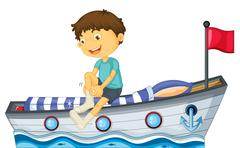 A boy sitting in the boat fixing his sock Stock Illustration