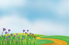 A garden with violet flowers at the top of the hills - stock illustration