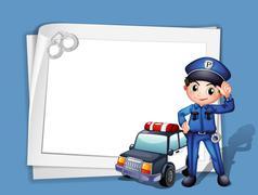 A policeman beside a police car Piirros