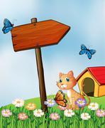Stock Illustration of A cat beside an arrow board