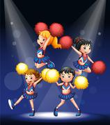 Stock Illustration of A cheering squad with red and yellow pompoms