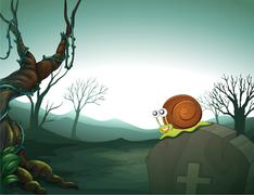 A graveyard with a snail Stock Illustration