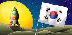 The flag of Korea near an airship - stock illustration