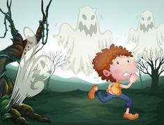 The boy and the three ghosts Stock Illustration