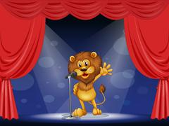 Stock Illustration of A lion singing at the center of the stage
