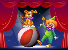 A tiger and a clown performing at the stage Stock Illustration