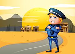 A police at the street in the middle of the night Stock Illustration
