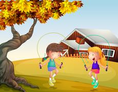Two girls playing jumping rope at the backyard - stock illustration