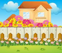A house with blooming flowers - stock illustration