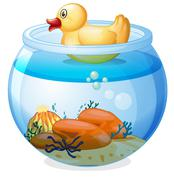 An aquarium with a rubber duck - stock illustration