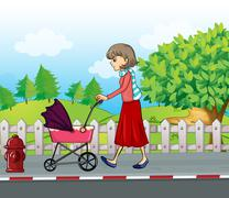 A lady with a red skirt pushing a stroller Stock Illustration