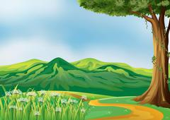 A pathway at the hills - stock illustration