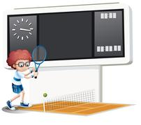 A boy playing tennis - stock illustration
