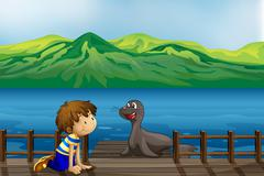 A boy and a sea lion - stock illustration