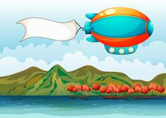 The empty banner carried by the colorful airship Stock Illustration
