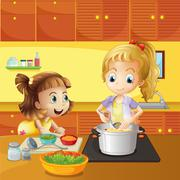 Mother and daughter cooking together - stock illustration
