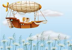 Two young ladies carried by the airship - stock illustration