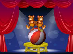 Stock Illustration of A circus show with two bears