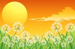 Stock Illustration of Bright sunset scenery