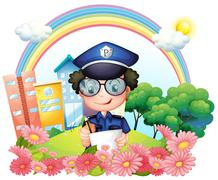 A policeman writing near the flowers - stock illustration