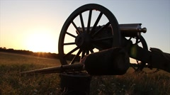 Cannon at sunset Stock Footage