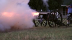 Cannon firing side view Stock Footage