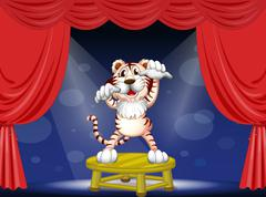 Stock Illustration of A tiger above a round table