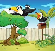 Birds at the backyard - stock illustration