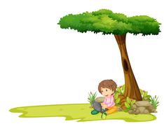 A boy with a laptop under a tree Stock Illustration