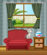A cat at the sofa watching the fish in the aquarium Stock Illustration