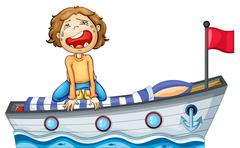 A boy in a boat with a red flag - stock illustration