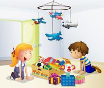 Stock Illustration of A boy and a girl playing inside the house