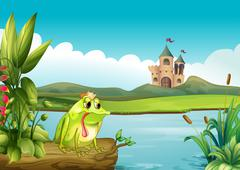 A frog above a floating trunk across the castle - stock illustration
