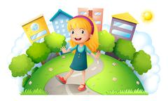 A girl at the top of the hill with buildings Stock Illustration