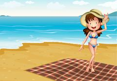 A girl in the beach with a blanket Stock Illustration