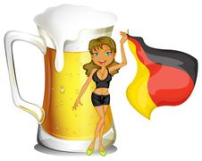 A big mug of beer at the back of a lady holding the flag of Germany Stock Illustration
